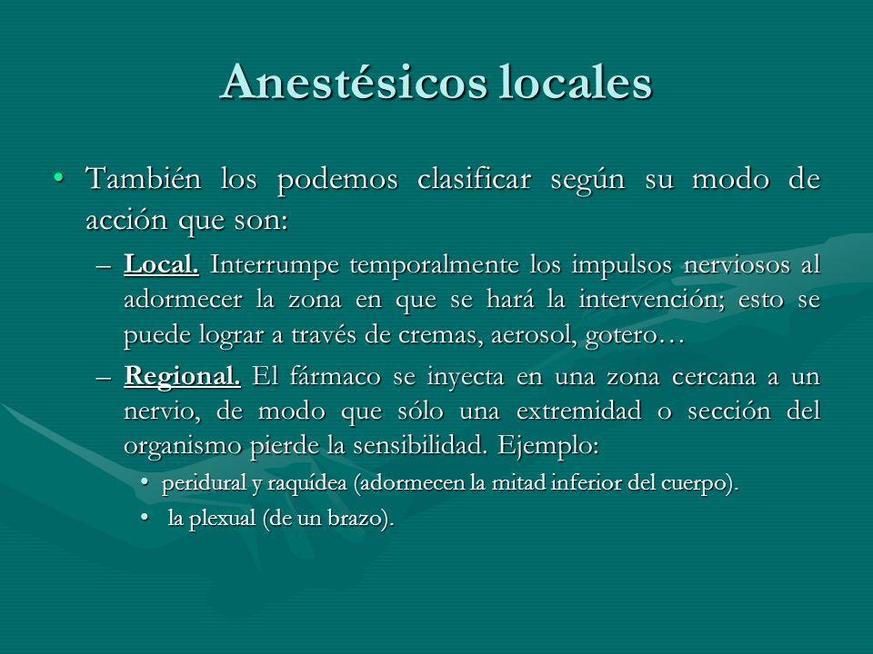Anestésicos locales También los podemos clasificar según su modo de acción que son: