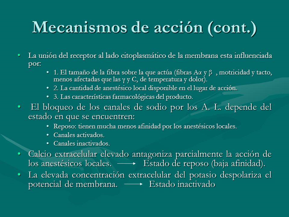 Mecanismos de acción (cont.)