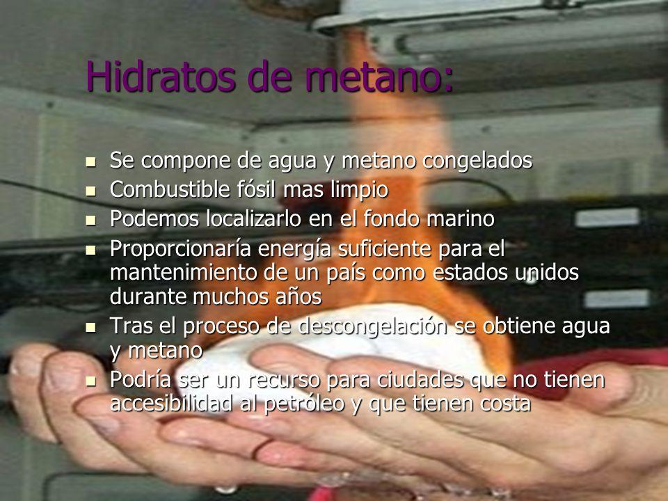 Hidratos de metano: Se compone de agua y metano congelados