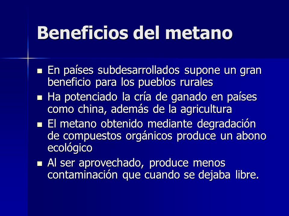 Beneficios del metanoEn países subdesarrollados supone un gran beneficio para los pueblos rurales.