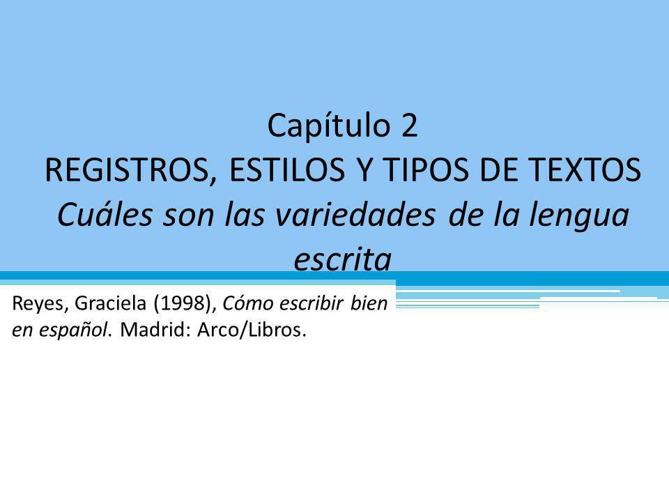 Capítulo 2 REGISTROS, ESTILOS Y TIPOS DE TEXTOS Cuáles son las variedades de la lengua escrita