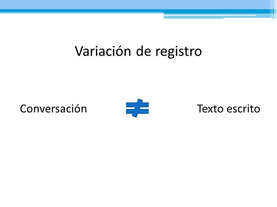 Variación de registro Conversación Texto escrito