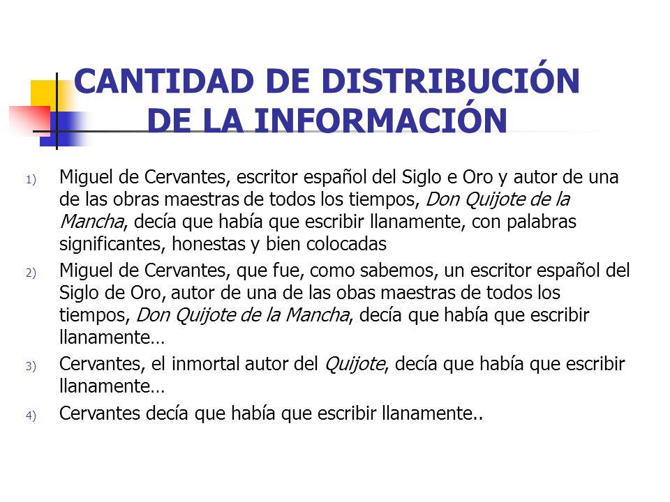 CANTIDAD DE DISTRIBUCIÓN DE LA INFORMACIÓN