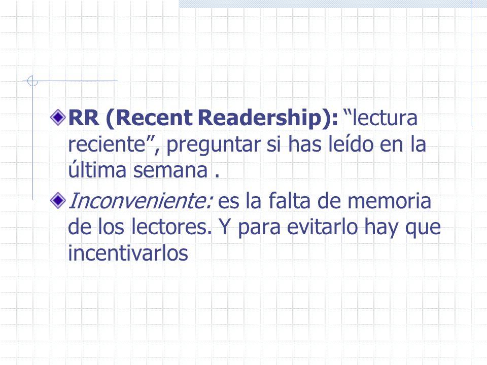 RR (Recent Readership): lectura reciente , preguntar si has leído en la última semana .