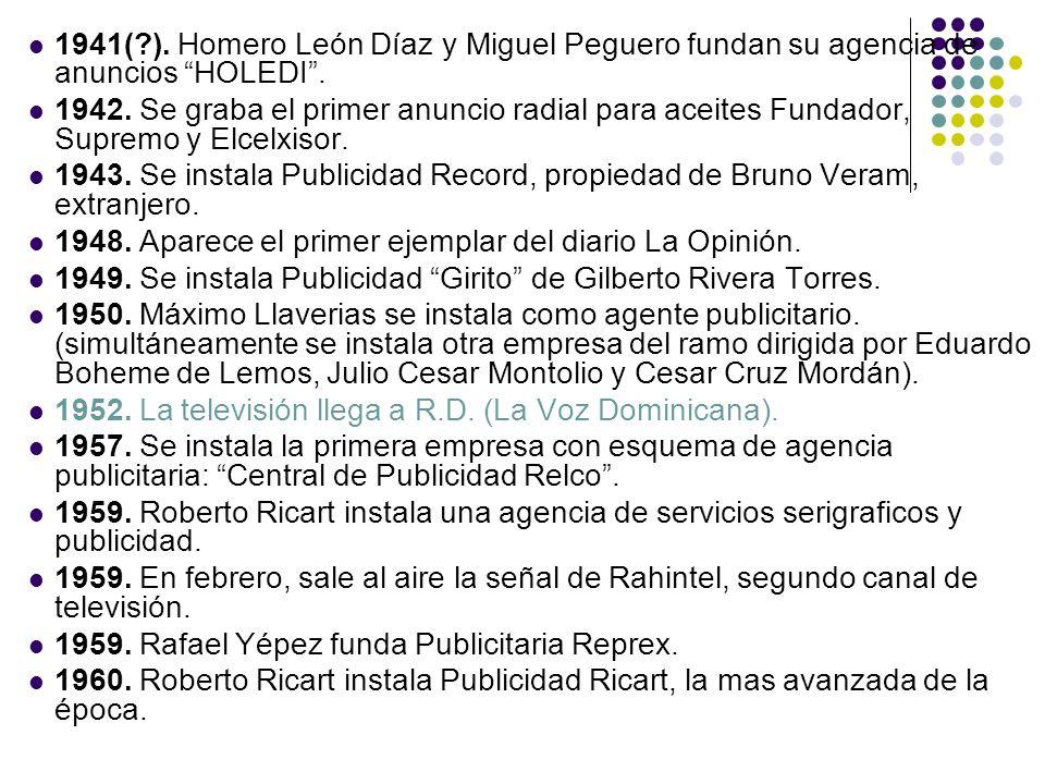1941( ). Homero León Díaz y Miguel Peguero fundan su agencia de anuncios HOLEDI .