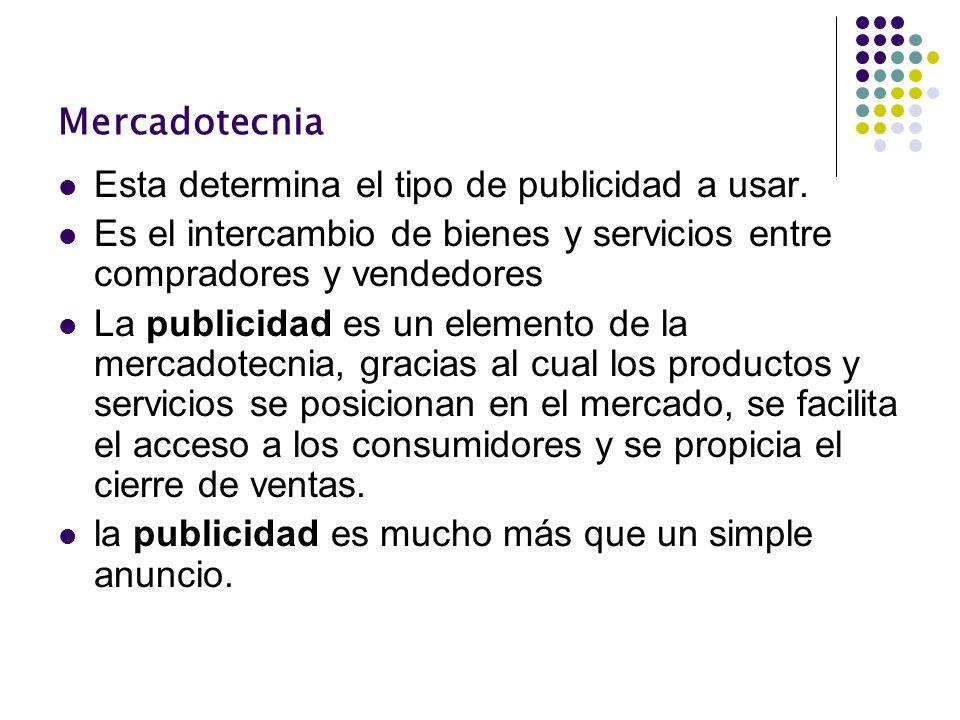 MercadotecniaEsta determina el tipo de publicidad a usar. Es el intercambio de bienes y servicios entre compradores y vendedores.