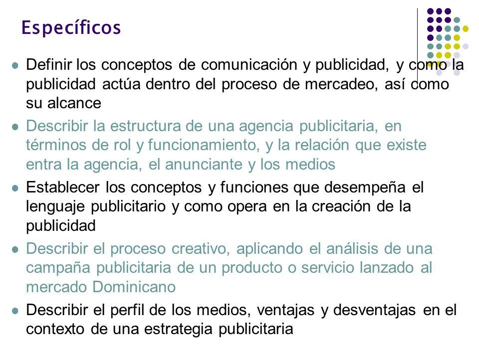 EspecíficosDefinir los conceptos de comunicación y publicidad, y como la publicidad actúa dentro del proceso de mercadeo, así como su alcance.