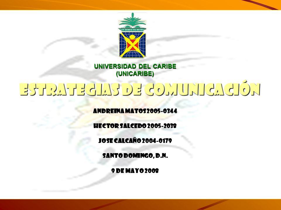 UNIVERSIDAD DEL CARIBE (UNICARIBE) ESTRATEGIAS DE COMUNICACIÓN