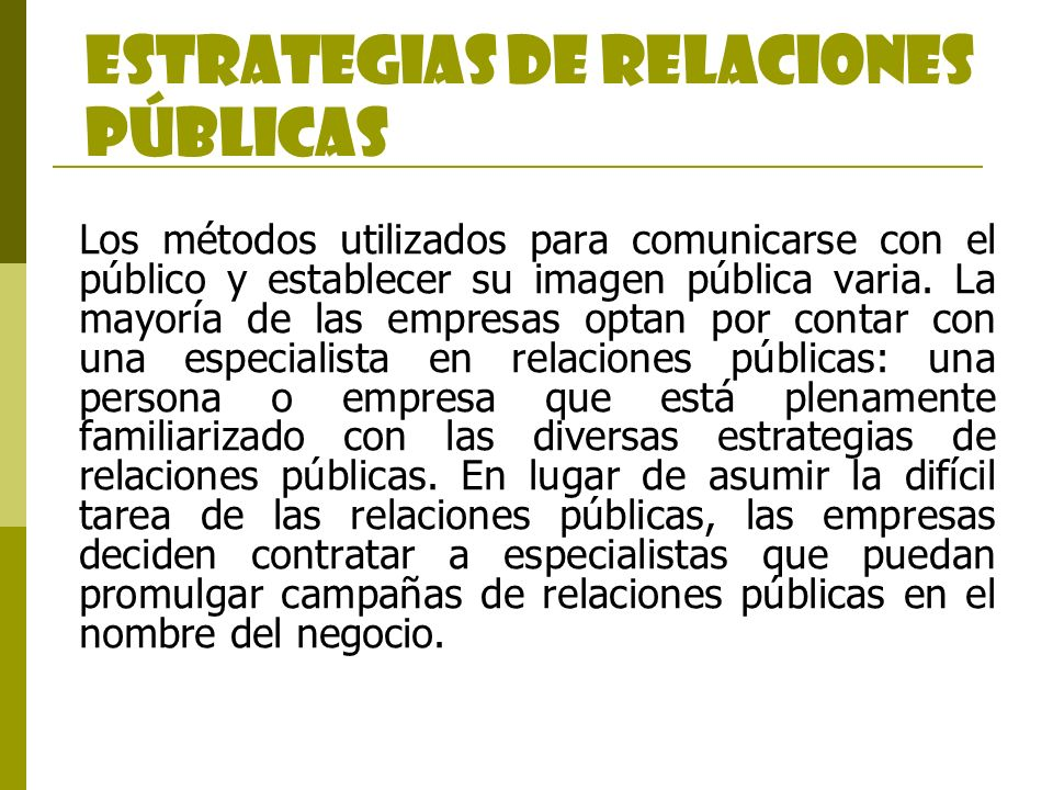 ESTRATEGIAS DE RELACIONES PÚBLICAS