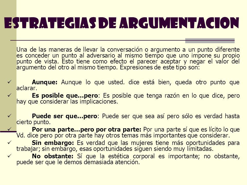 ESTRATEGIAS DE ARGUMENTACION