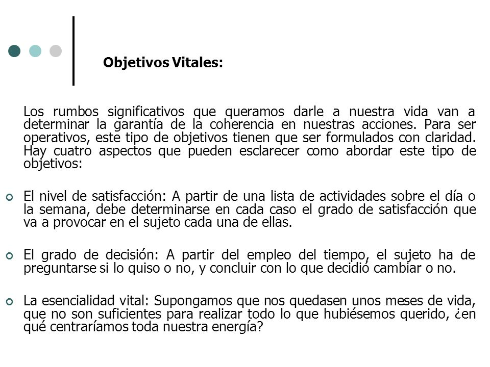 Objetivos Vitales: