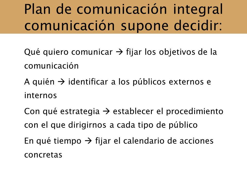 Plan de comunicación integral comunicación supone decidir: