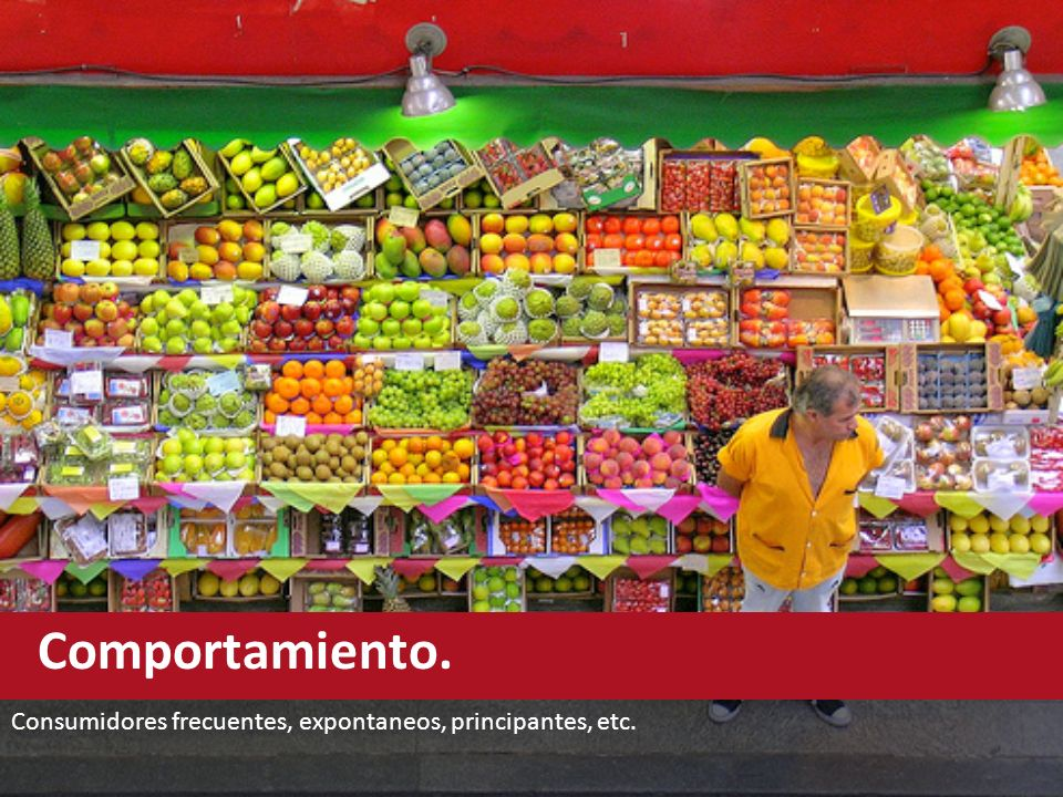 Comportamiento. Consumidores frecuentes, expontaneos, principantes, etc.