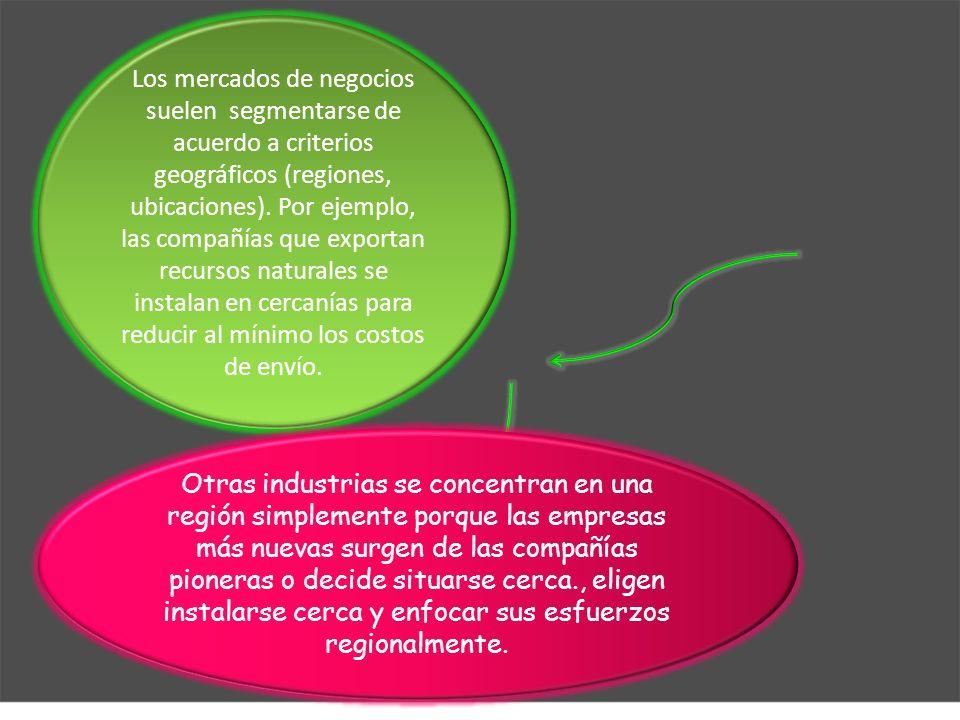 Los mercados de negocios suelen segmentarse de acuerdo a criterios geográficos (regiones, ubicaciones). Por ejemplo, las compañías que exportan recursos naturales se instalan en cercanías para reducir al mínimo los costos de envío.