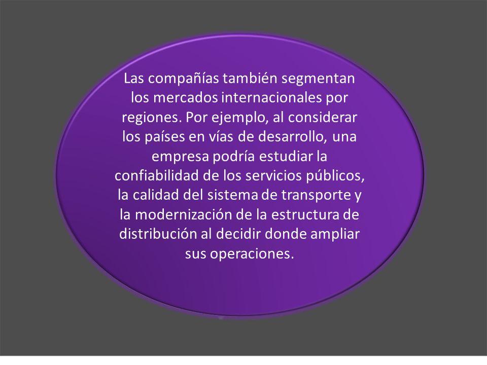Las compañías también segmentan los mercados internacionales por regiones.