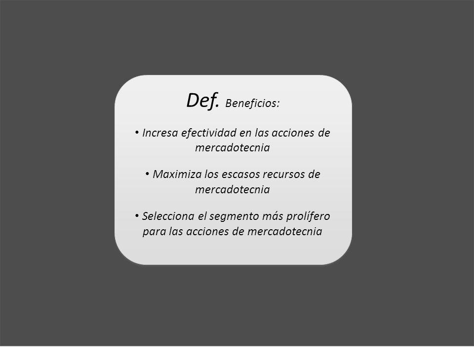 Def. Beneficios: Incresa efectividad en las acciones de mercadotecnia