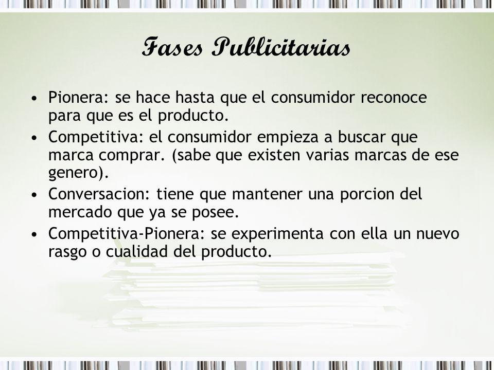Fases Publicitarias Pionera: se hace hasta que el consumidor reconoce para que es el producto.