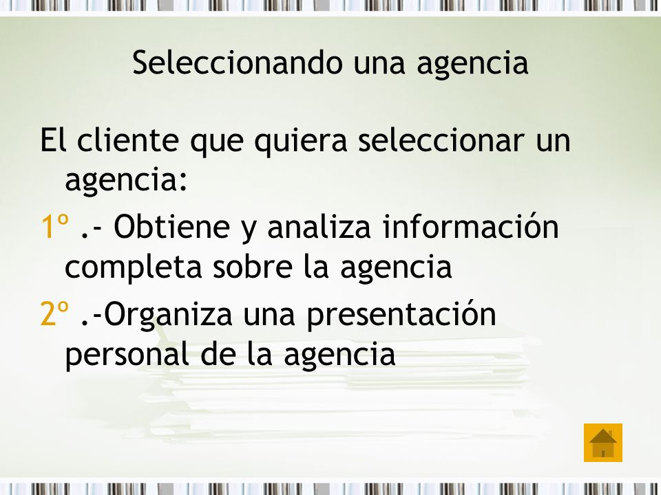 Seleccionando una agencia