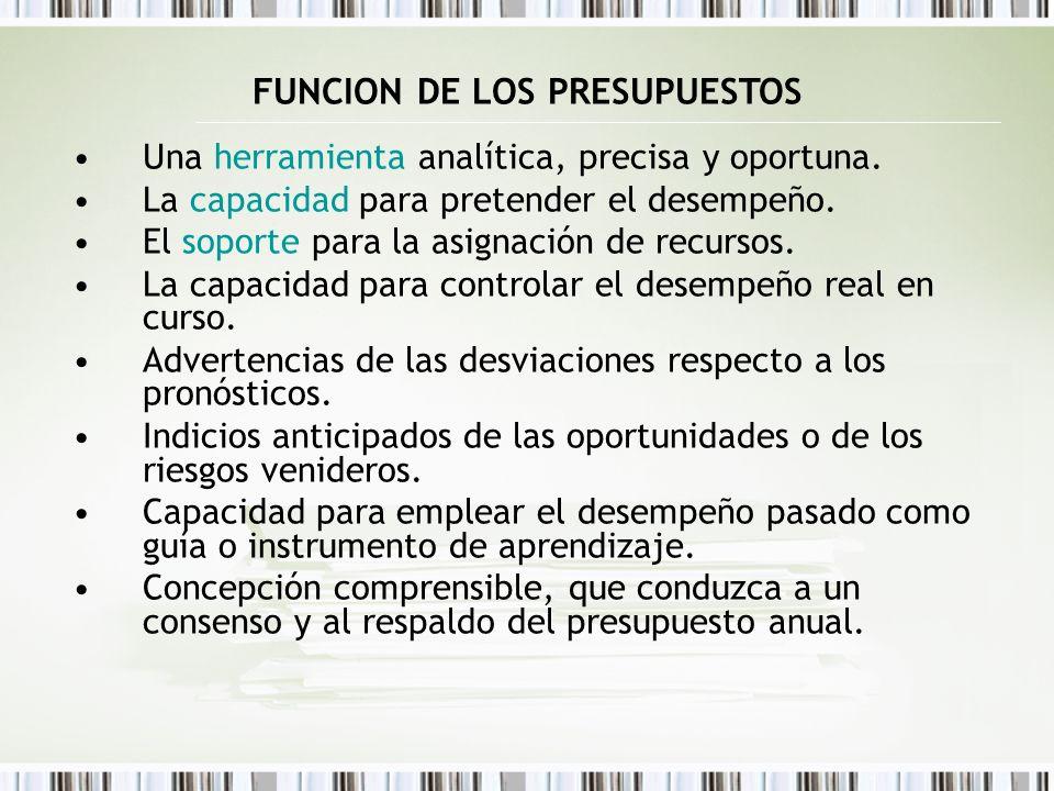 FUNCION DE LOS PRESUPUESTOS