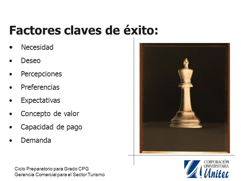 Factores claves de éxito: