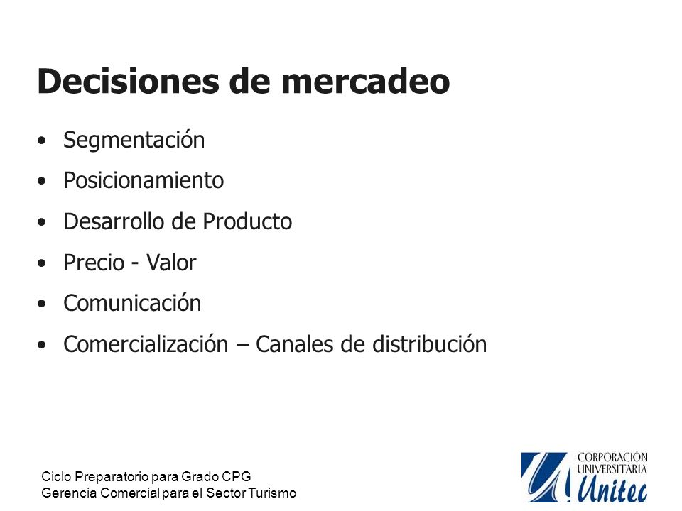 Decisiones de mercadeo