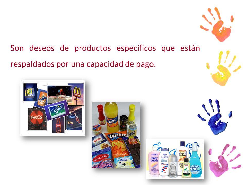 Son deseos de productos específicos que están respaldados por una capacidad de pago.