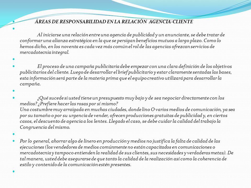 ÁREAS DE RESPONSABILIDAD EN LA RELACIÓN AGENCIA-CLIENTE