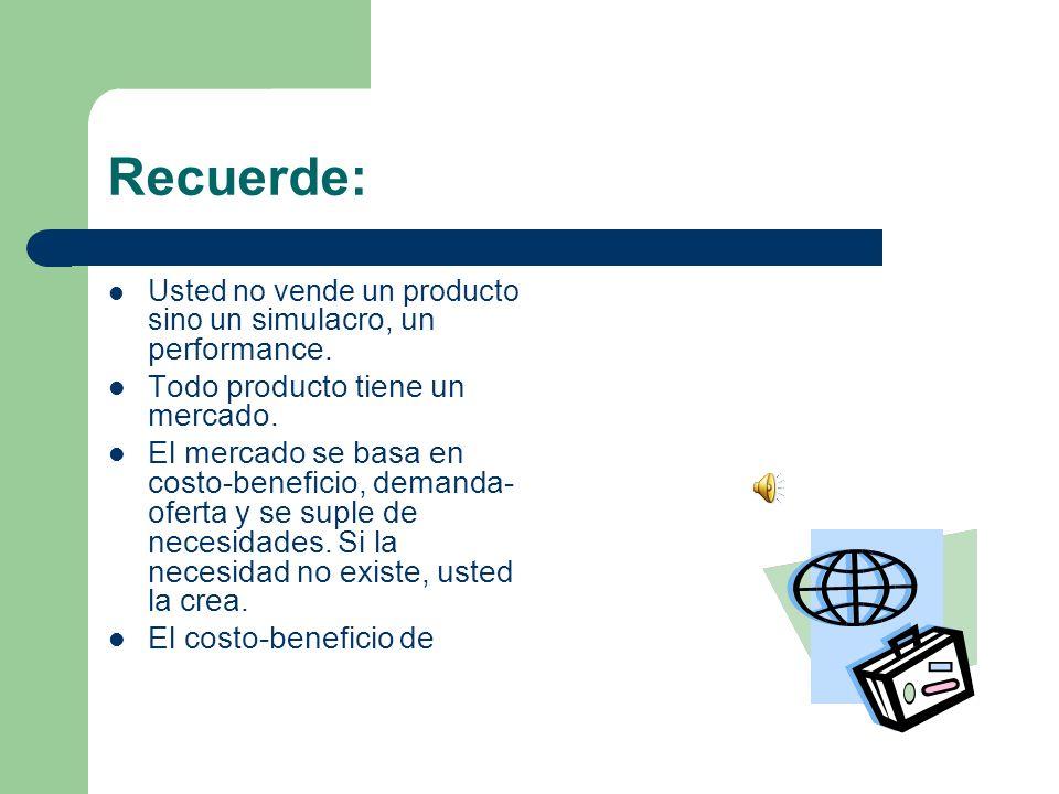 Recuerde: Todo producto tiene un mercado.