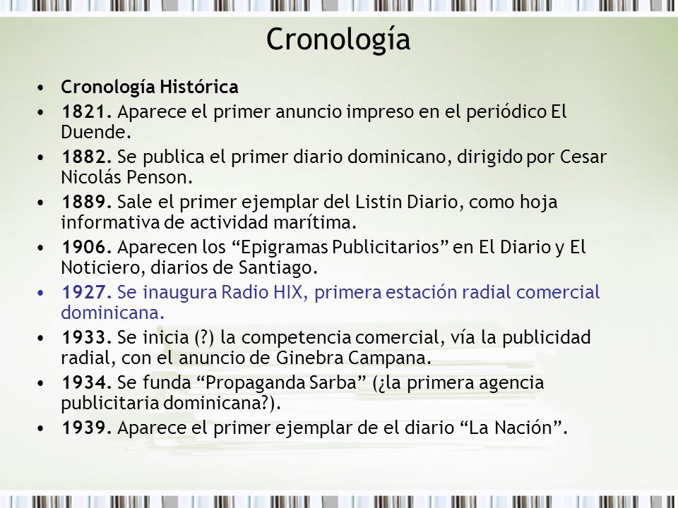 Cronología Cronología Histórica