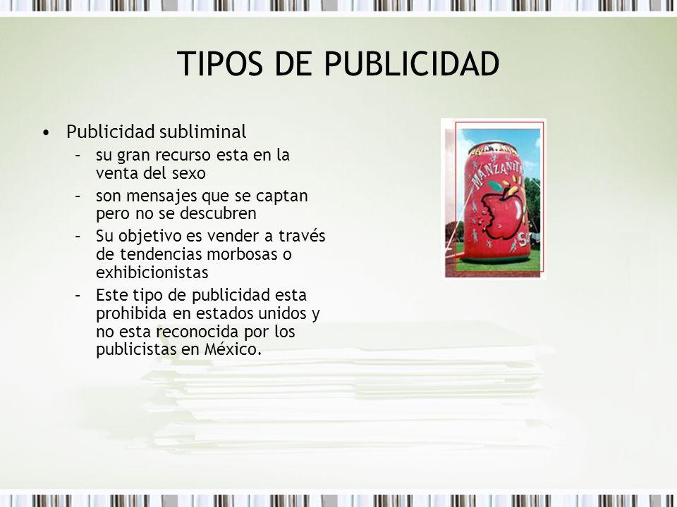 TIPOS DE PUBLICIDAD Publicidad subliminal