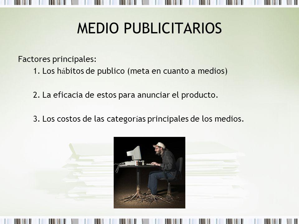 MEDIO PUBLICITARIOS Factores principales: