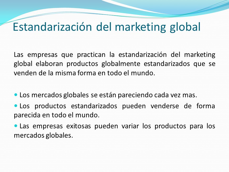 Estandarización del marketing global