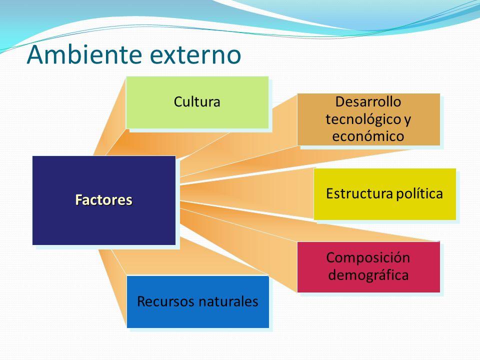 Ambiente externo Factores Cultura Desarrollo tecnológico y económico