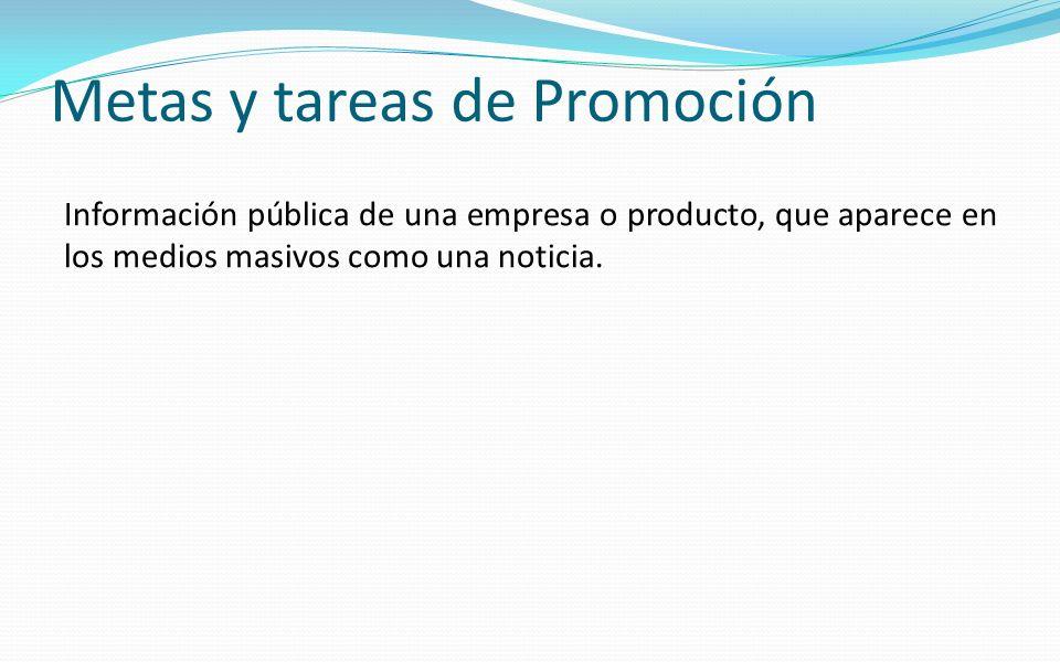 Metas y tareas de Promoción