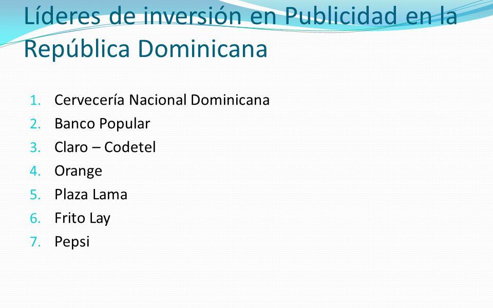 Líderes de inversión en Publicidad en la República Dominicana