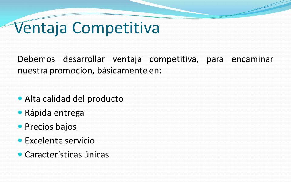 Ventaja Competitiva Debemos desarrollar ventaja competitiva, para encaminar nuestra promoción, básicamente en: