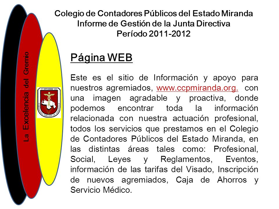 Página WEB Colegio de Contadores Públicos del Estado Miranda