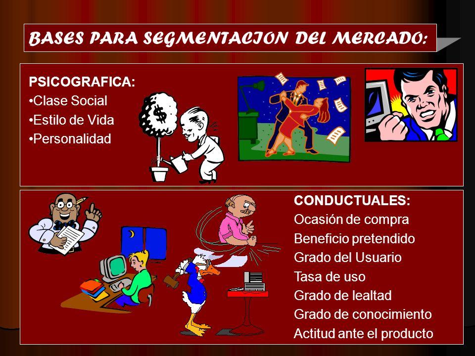 BASES PARA SEGMENTACION DEL MERCADO: