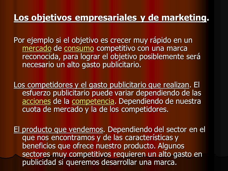Los objetivos empresariales y de marketing.