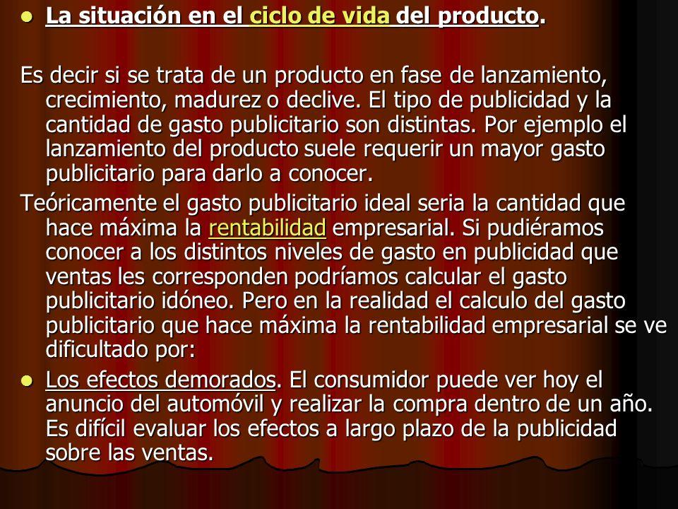 La situación en el ciclo de vida del producto.