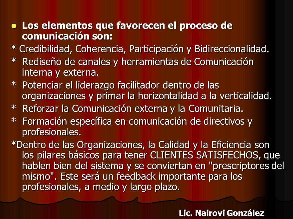 Los elementos que favorecen el proceso de comunicación son:
