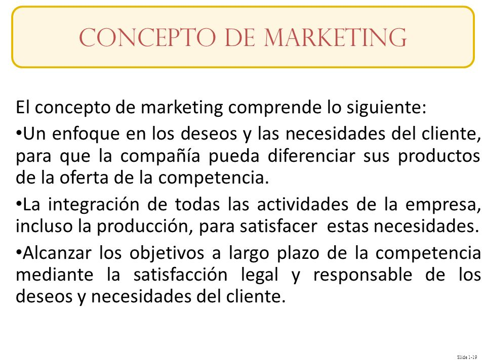 Concepto de mARKETING El concepto de marketing comprende lo siguiente: