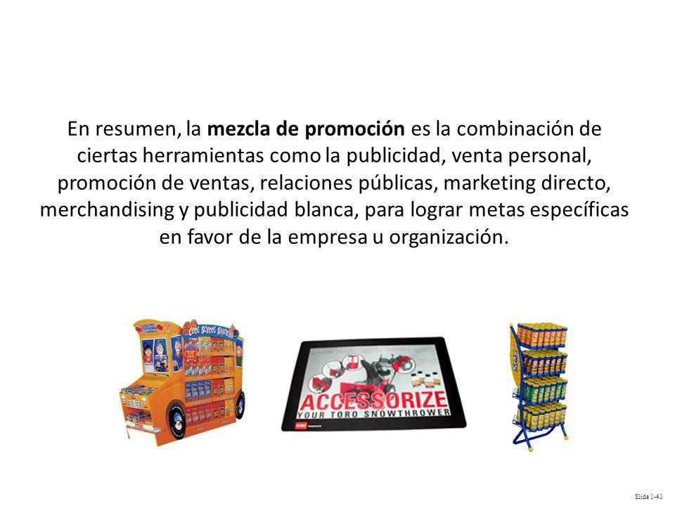 En resumen, la mezcla de promoción es la combinación de ciertas herramientas como la publicidad, venta personal, promoción de ventas, relaciones públicas, marketing directo, merchandising y publicidad blanca, para lograr metas específicas en favor de la empresa u organización.