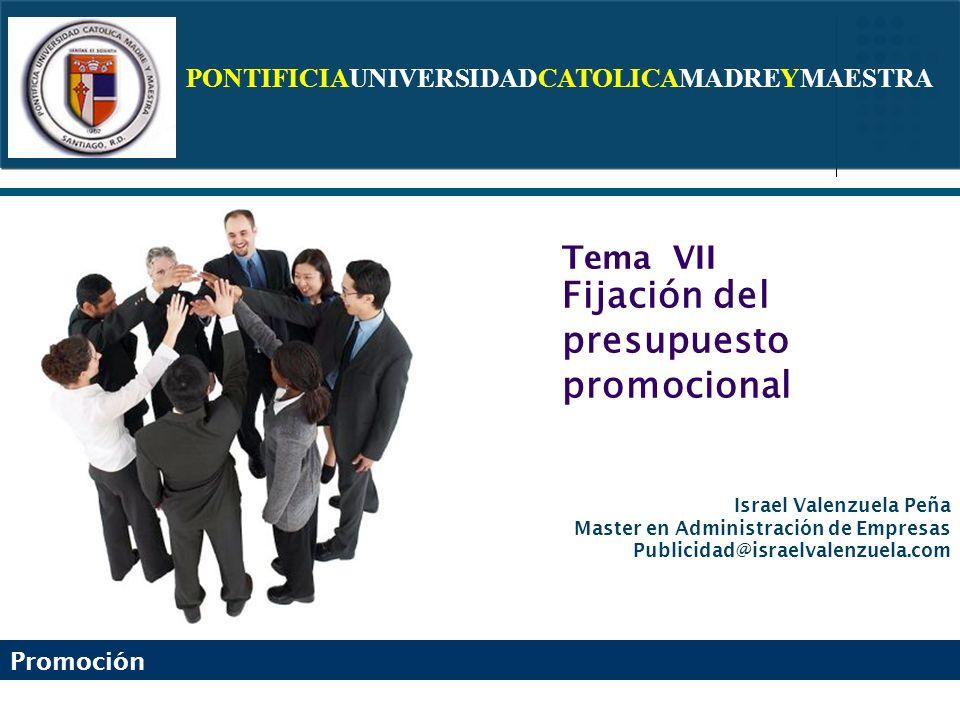 Tema VII Fijación del presupuesto promocional