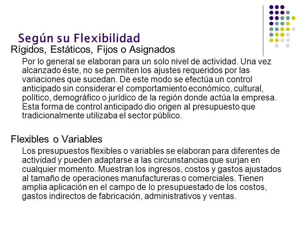 Según su Flexibilidad Rígidos, Estáticos, Fijos o Asignados