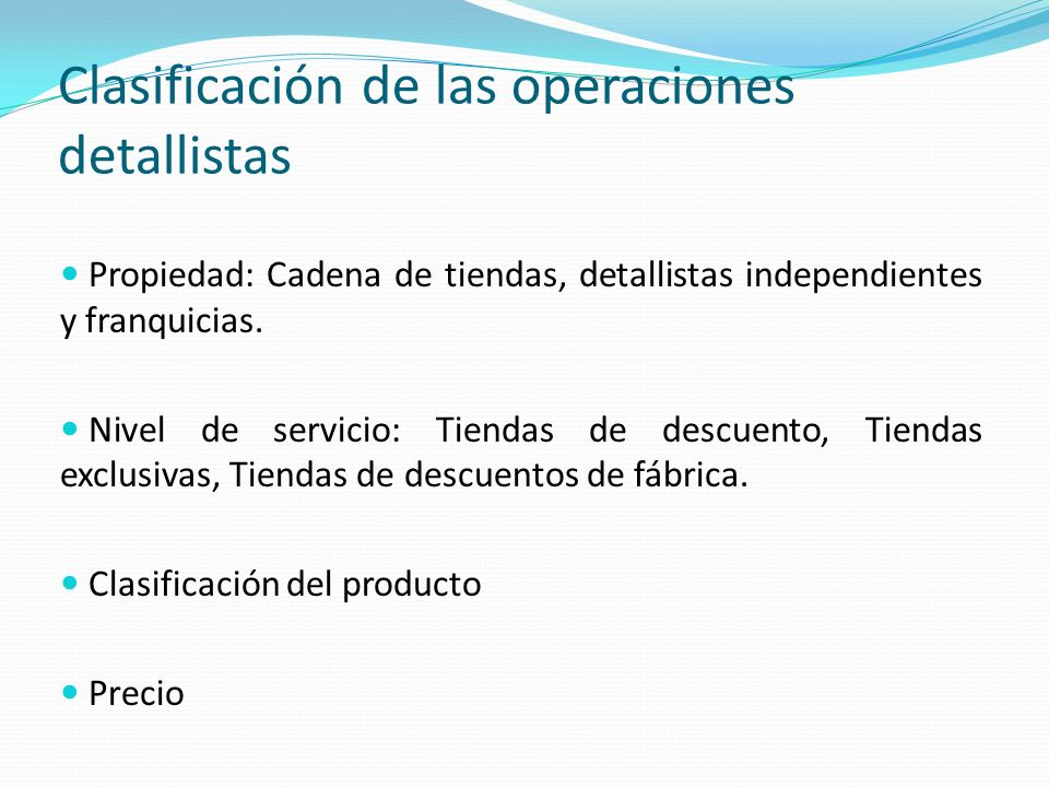 Clasificación de las operaciones detallistas