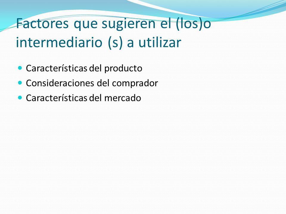 Factores que sugieren el (los)o intermediario (s) a utilizar