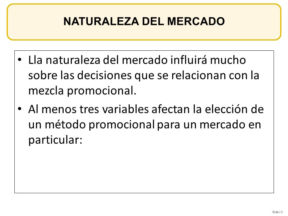 NATURALEZA DEL MERCADO