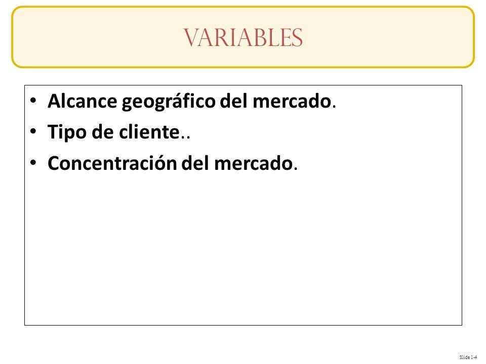 variables Alcance geográfico del mercado. Tipo de cliente..
