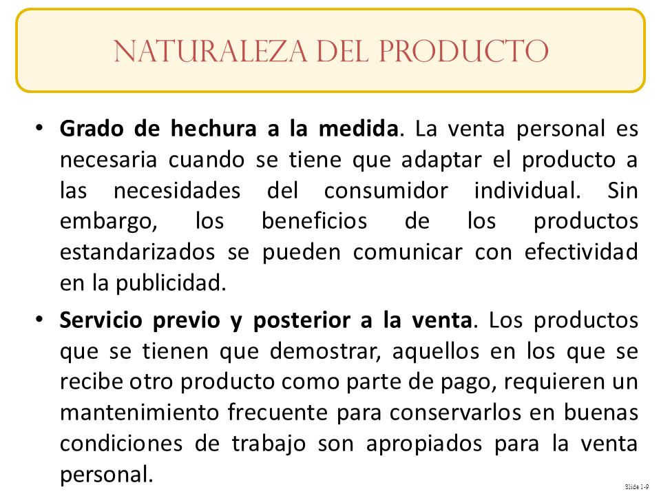 Naturaleza del producto
